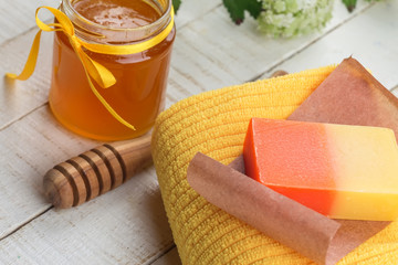 Honey spa. Bar of natural handmade soap iwith honey.