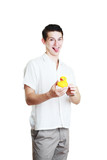 man holding yellow rubber duck