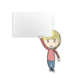 Boy holding an empty business card. Vector design