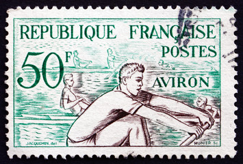Postage stamp France 1953 Rowing, Water Sport