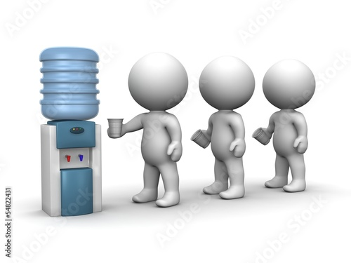 3D Men Standing in Line at Water Cooler