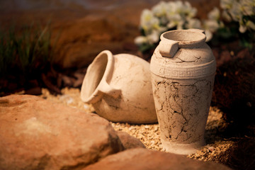 Ceramic vases clay jugs decoration and craft