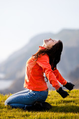 Woman Relaxing Outdoors in Fresh Air