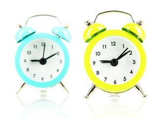 Retro alarm clocks, isolated on white