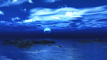 Night sea scene