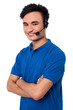 Confident male customer support executive