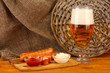 Beer and grilled sausages
