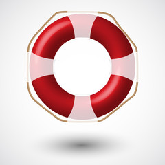 Red Life Buoy Isolated On White . Vector Illustration