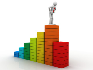3d business person on  bar graph