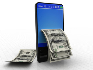 Modern phone with dollars