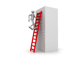 3D man climbing a ladder isolated over white