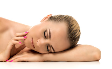 Beauty woman lying down. Spa young girl