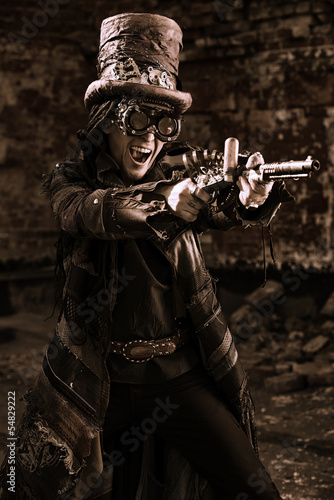 shooting steampunk