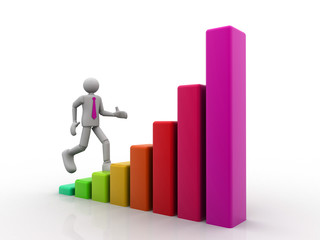 business person climbing a bar graph