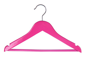 Pink wooden hanger isolated on white