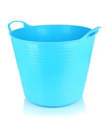 Empty laundry basket isolated on white
