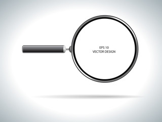 magnifying glass on white background.