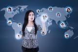 Attractive businesswoman choose worker online