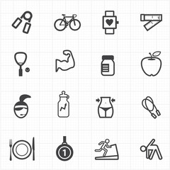 Healthcare fitness icons set