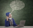 Beautiful muslim woman think on abstract cloud