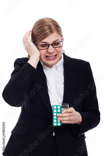 Businesswoman with migraine