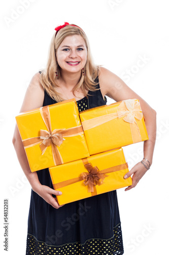 Funny woman carrying presents
