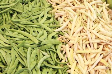grüne und weisse Bohnen