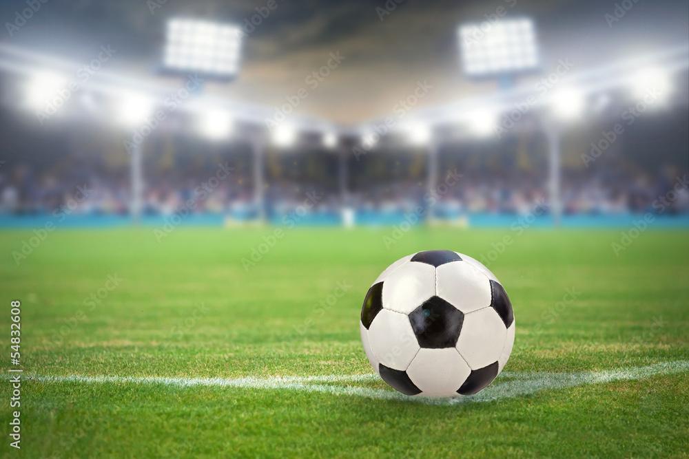 Naklejka 3d Dziura W ścianie Z Cegły Stadion Piłkarski Z Piłką Nożną