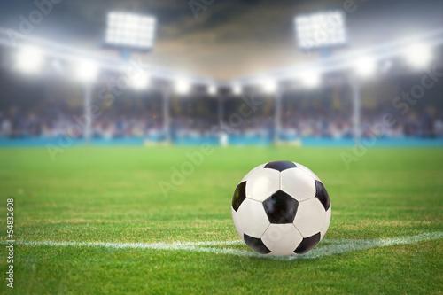 canvas print picture Fußballstadion mit Fußball