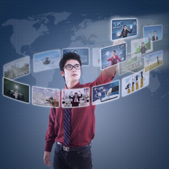Businessman choosing his partner on modern interface