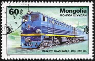 stamp printed in Mongolia shows Moskow - Ulan Bator