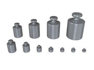 Group of vintage weights isolated on white