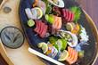 Cru, japonais, poisson, sushi, salade, frais, entrée