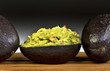 Guacamole with avocados.