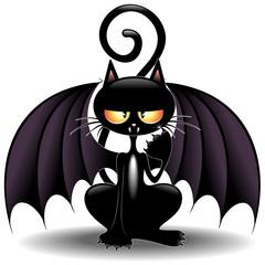 Halloween Bat Cat Cartoon-Gatto Pipistrello