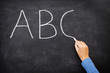 Education concept - ABC alphabet school blackboard