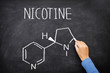 Nicotine molecule chemical structure on blackboard