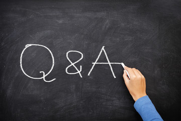 Questions and Answers - Q and A concept blackboard