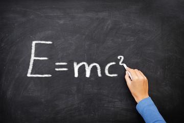 physics science formula equation blackboard, E=mc²