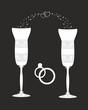 Beautiful wedding glasses with decorative pattern.