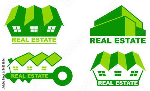 Simple green symbols of trade in the real estate