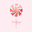 Pink lollipop on polka dotted