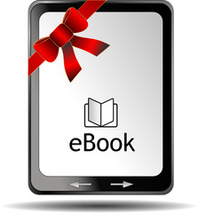 eBook Reader mit roter Schleife