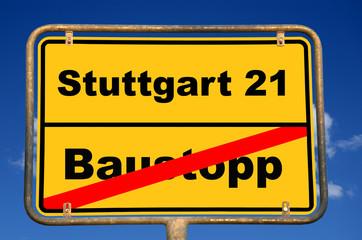 Schild Baustopp Stuttgart 21