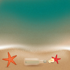 Message in a bottle in the sand on the beach