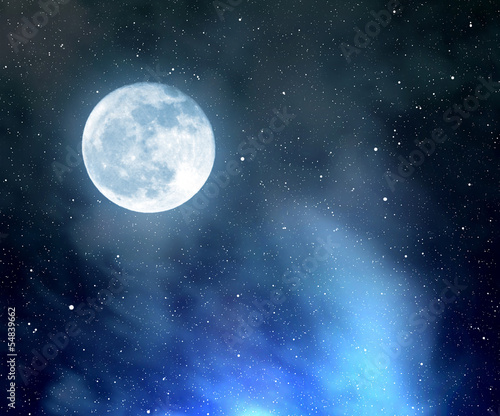 night sky with stars,nebula and moon