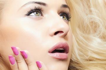 fashion beautiful blond girl. beauty woman. surprise