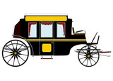 Black retro stagecoach poster