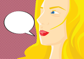 Pop art vector illustration of a woman's face