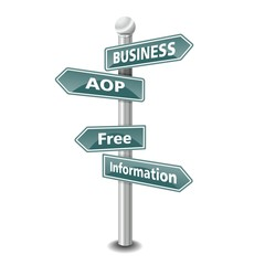 BUSINESS AOP icon as signpost - NEW TOP TREND